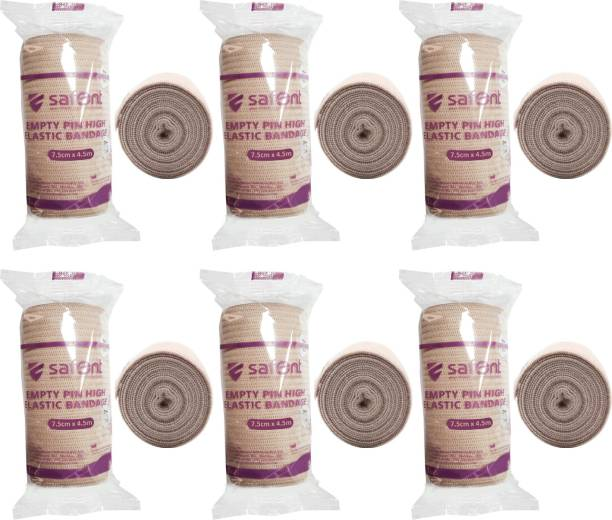 safent Skin Color Empty Pin High Elastic Bandage - 3 Inch - (7.5cm*4.5M) (Set Of 6) Crepe Bandage