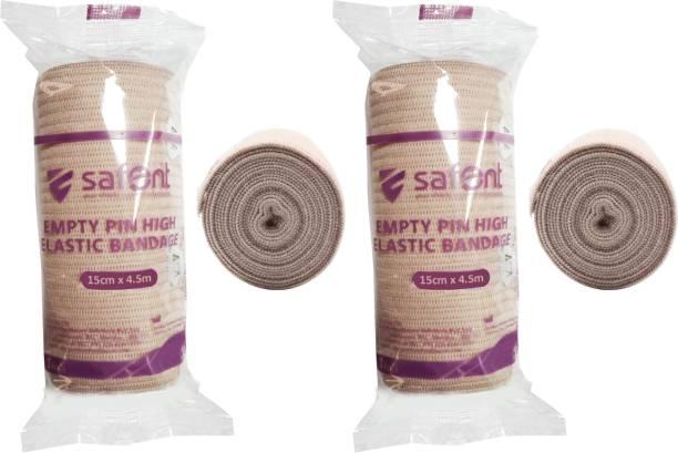 safent Skin Color Empty Pin High Elastic Bandage - 6 Inch - (15cm*4.5M) (Set Of 2) Crepe Bandage