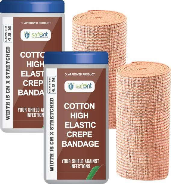 safent Cotton High Elastic Bandage - 6 Inch - (15cm*4.5M) (Set Of 2) Crepe Bandage