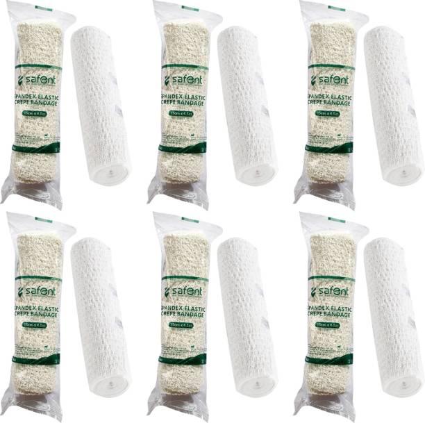 safent Spandex Elastic Crepe Bandage (Natural White Color) - 6 Inch - (15cm*4.5M) (Set Of 6) Crepe Bandage