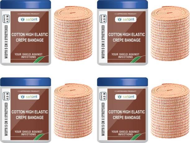 safent Cotton High Elastic Bandage - 2 Inch - (5cm*4.5M) (Set Of 4) Crepe Bandage