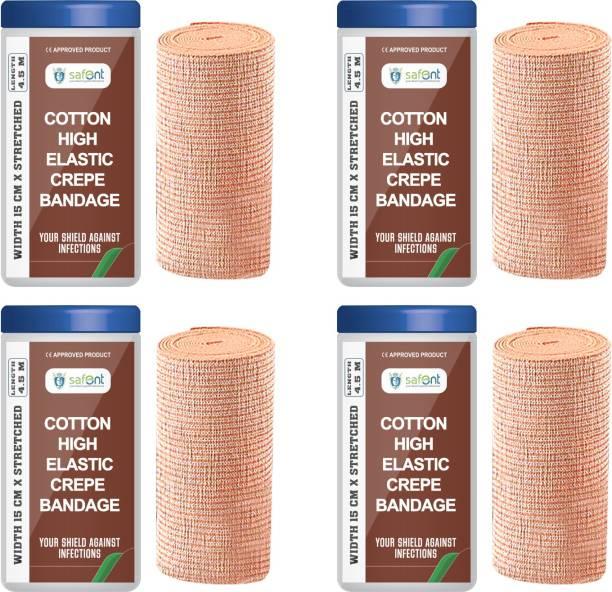 safent Cotton High Elastic Bandage - 6 Inch - (15cm*4.5M) (Set Of 4) Crepe Bandage