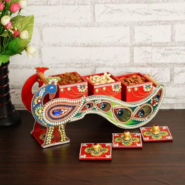 CAPIO ART Dry Fruit Box Wooden Dry Fruit Box Sweets Box Wood Decorative Platter