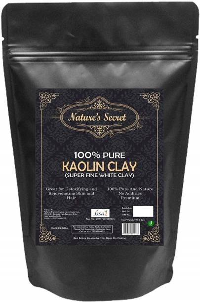 Nature's Secret White Light Kaolin Clay Powder For Skin Face Mask - 250 gm Pack of 3