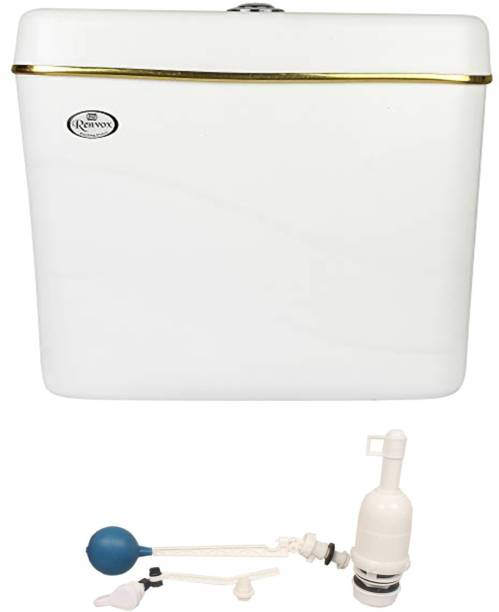 RENVOX New ISI Certified PVC Center Push Type Cistern Flush Tank With All Accessories Single Flush Tank