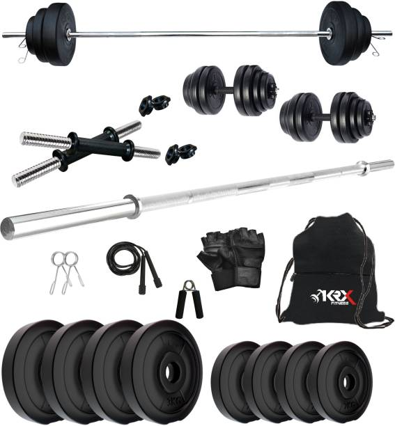 KRX PVC 20 Kg with One 4 Ft Plain Rod and One Pair Dumbbell Rods with gym Accessories Home Gym Kit