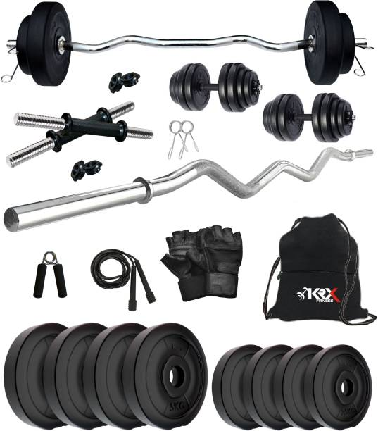 KRX 30 kg PVC 30 Kg with One 3 Ft Curl Rod and One Pair Dumbbell Rods with gym Accessories_52 Home Gym Combo