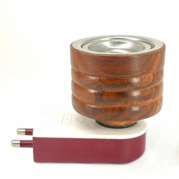 SHREE EXIM Electric Wooden Kapoor Dhoop Dani Incense Burner Wooden, Steel, Plastic Incense Holder
