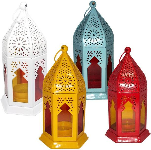 Good Will Crafts GWD10468 Red, Yellow, White, Blue Iron Hanging Lantern