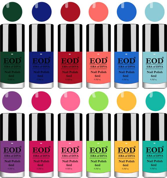 EOD Nail Polish Set Combo 6ml each of 12 Pcs Gloss High Shine Nail Paint Superstay at Wholesale Price Purple, Pink, Light Pink, Parrot Green, yellow, Blue, Light Blue, Sky Blue, Dark Green, Red etc