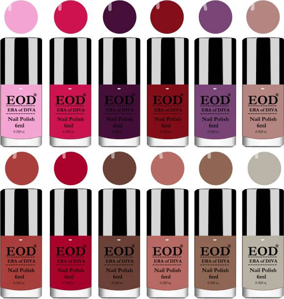 EOD Brilliant Shine Glossy Modern Nail Polish Paint Set Combo 6ml each of 12 Bottles Long Lasting Red, Brown, Nude, Light Grey, Light Purple, Pink, Wine, Plum etc