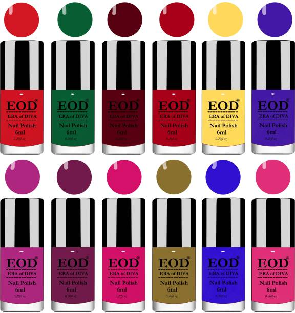 EOD New High Shine Gloss Nail Polish Lacquer Paint Combo Set of 12 Pcs 6ml each Yellow, Green, Blue, Magenta, Navy Blue, Plum, Orange, Pink, Red etc