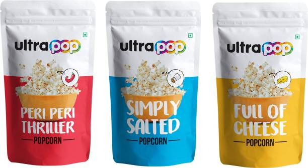 Ultrapop Peri Peri Thriller Pack of 4 Simply Salted Pack of 4 Full Of Cheese Pack of 4 (35 g Each) 420 g Peri Peri Thriller, Simply Salted, Full Of Cheese Popcorn