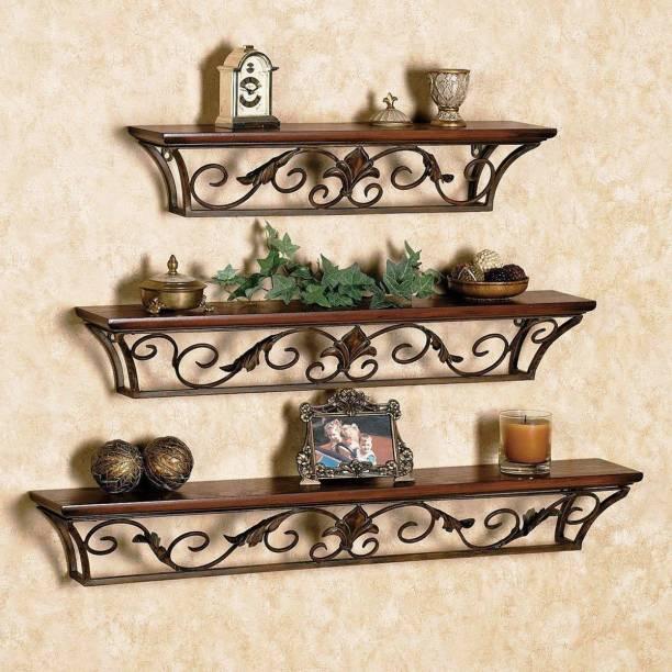 Artesia Wall Mount Set of 3 Iron Wall Shelves Wooden, Iron Wall Shelf Metal Display Unit