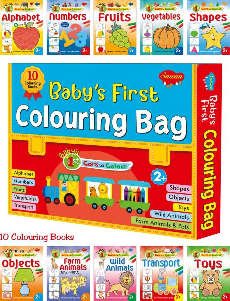 Colouring Books For Kids   Box Set of 10 Coloring Book   Gift Bag For Children