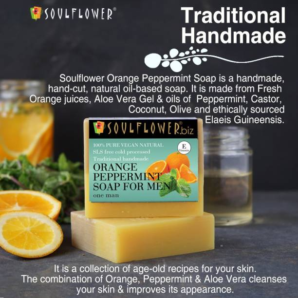 Soulflower Orange peppermint soap for men 150g, 100% Premium & Pure, Natural & Undiluted, For Skin Cleanser, Fades Acne Marks, Luxury, Premium Handmade Soap