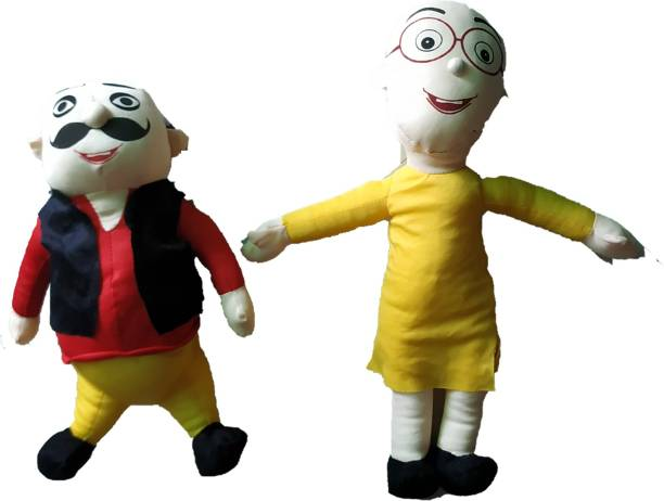 PriMaryHoMe Motu Patlu Cartoon Character Plush Anime Cute and Soft Collection Toy - Character from The Cartton Funny Soft Toy - Combo of 2 Character Toys for Kids/ Baby Boy/ Girls  - 45 cm