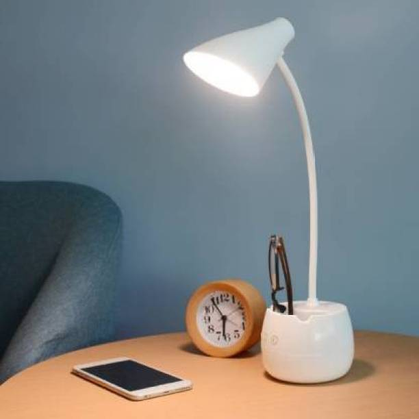 FIRSTLIKE 12+8 SMD LED, 360 Degree Flexible Desk Lamp with Night Lamp, Advanced Pen and Mobile Holder Design Modern Touch Switch Rechargeable Table Lamp Eye Care Reading Study Bed Side, Office Use, Home Decor All in One Table Lamp Study Lamp Study Lamp