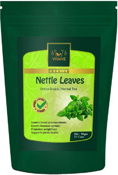 VHANS Nettle Tea Leaves Organic Herbal Tea Organic Nettle Leaf Energy Booster Tea (50gm Unflavoured Green Tea Pouch