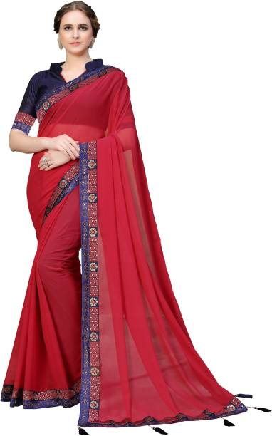 Sanku Fashion Solid, Embellished Kanjivaram Georgette Saree