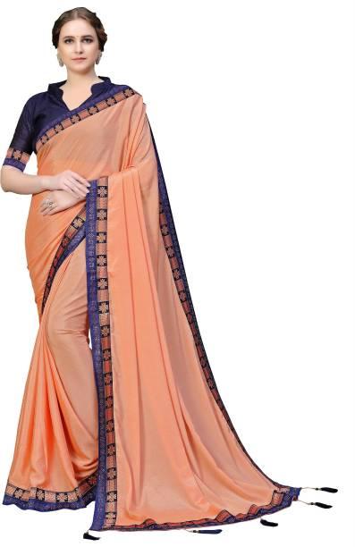 Sanku Fashion Solid, Embellished Fashion Chiffon, Poly Silk Saree