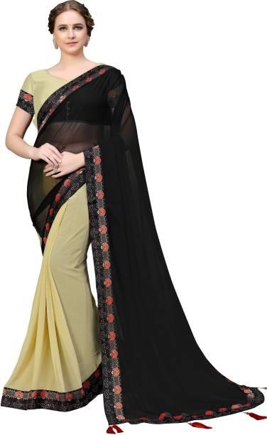 Sanku Fashion Solid, Embellished Bollywood Georgette Saree