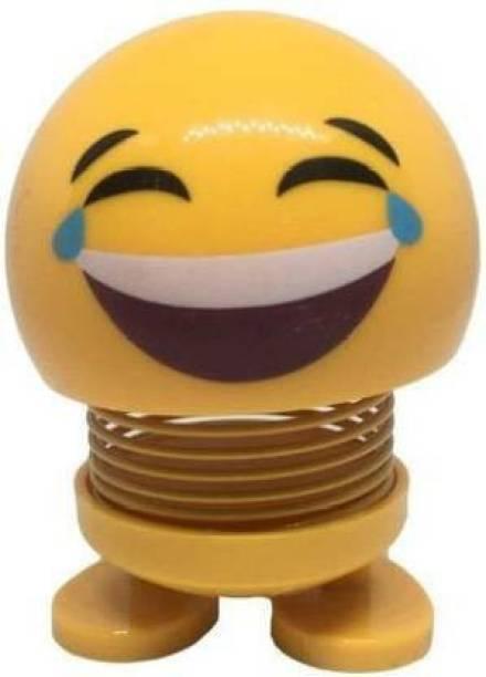 DEE GEE Car emoticon spring shaking head dolls bouncing Emoji smiley face toys (Yellow)
