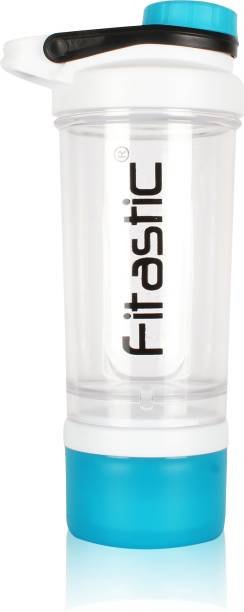 Fitastic  INTENSE Protein Shaker Bottle with Steel Ball (White-Blue)   500 ml Shaker