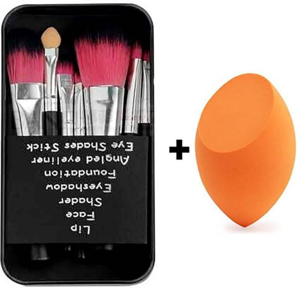 BELLA HARARO Makeup hello-kitty brush set of 7 & Sponge puff blender (Pack of 8)
