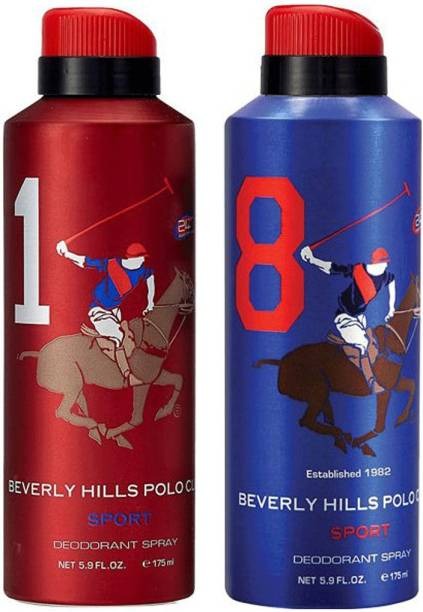 BEVERLY HILLS POLO CLUB Combo Deodorants No 1 & 8 Deodorant Spray  -  For Men
