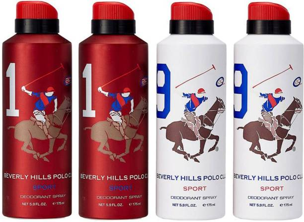 BEVERLY HILLS POLO CLUB 1 and 9 Combo Set of 4 Deodorant Spray  -  For Men
