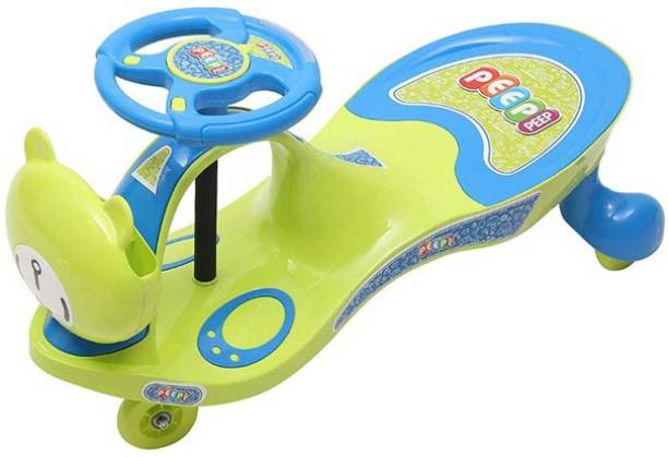 PeepPeep Scratch Free Twister Magic Swing Cars for Kids of Above 3 Years, Strongest & Smoothest Wheels with 120 Weight Capacity with Light and Sound Functions Rideons & Wagons Battery Operated Ride On