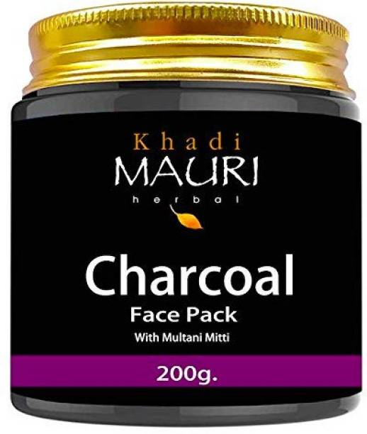 Khadi Mauri Herbal Charcoal Face Pack - De Tan & Skin Lightening - Enriched with Multani Mitti, Black, 200 g