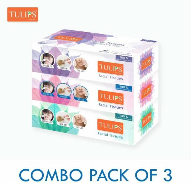 Tulips Facial Dry Tissue Paper, Super Soft, Super Absorbent & 100% Pure, 2Plyx 100 Pulls