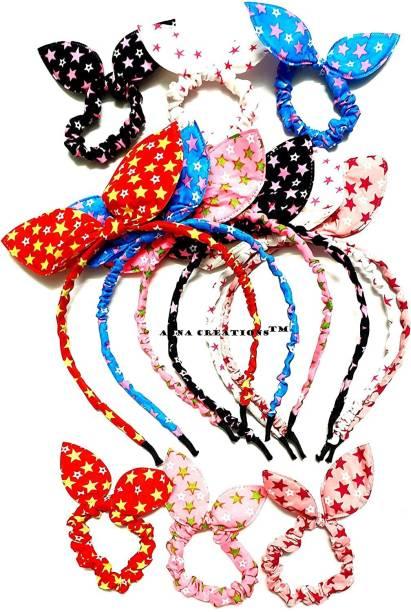 Anjali Creation RABBIT EAR elastic bow knot hair accessory set 12 PCS Hair Band