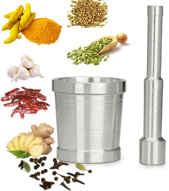 Kunst High Quality Mortar & Pestle / Imam Dasta / Ohkli Musal / Kharal / Khalbatta / Okhli Masher / Masher / 8.89 CM Mortar & 14.8 CM Pestle Aluminium Masher Aluminium Masher