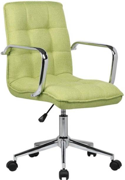 Finch Fox Medium Back Porthos Home Lada Adjustable Swivel Fabric With Armrest Conference Office Chair in Green Color Fabric Office Executive Chair