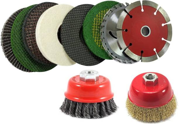 Inditrust Angle Grinder Accessories Wood & Marble Cutting Flap Discs Grinding Cut Off Wheel Set Include Flap Carbon steel grinding Wheel With Cup Brush Wheel Power & Hand Tool Kit (10 Tools) Power & Hand Tool Kit