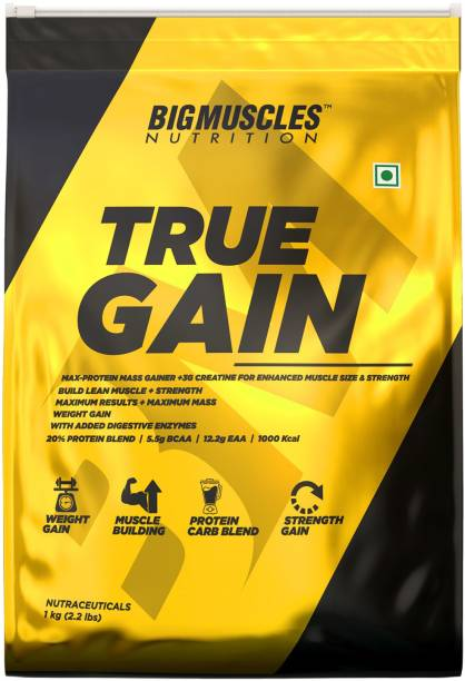 BIGMUSCLES NUTRITION True Gain Lean Whey Protein Muscle Mass Gainer, 3g Creatine, 1000 Kcal Per Serv. Weight Gainers/Mass Gainers