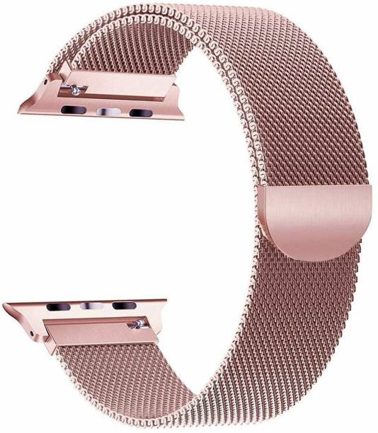 DAEMON Magnetic Lock Stainless Steel Milanese Strap Band (44mm,42mm Rose Gold) Smart Watch Strap