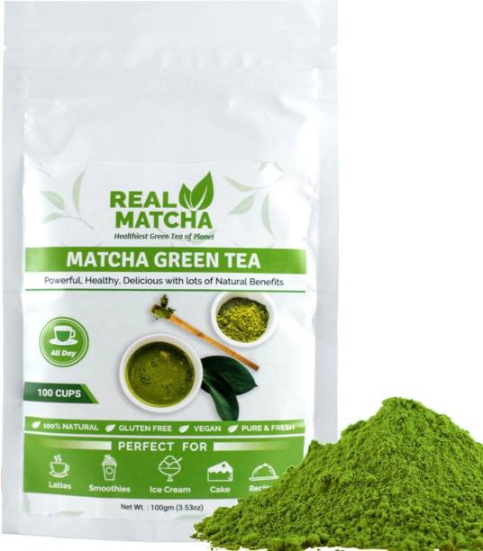 Real Matcha Green Tea Powder for Weight Loss - Best for Making Matcha Tea, Lattes, Smoothies, Baking, Iced Tea & Ice Cream - (Powerful Body Detoxifier, Antioxidant, Fat Burner, Increase Energy & Focus), Origin Japan (100 Cups) Unflavoured Matcha Tea Pouch