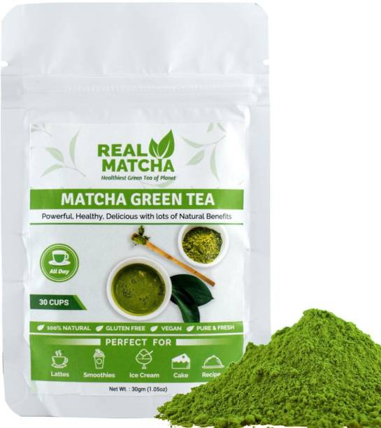 Real Matcha Green Tea Powder for Weight Loss - Best for Making Matcha Tea, Lattes, Smoothies, Baking, Iced Tea & Ice Cream - (Powerful Body Detoxifier, Antioxidant, Fat Burner, Increase Energy & Focus), Origin Japan (30 Cups) Unflavoured Matcha Tea Pouch