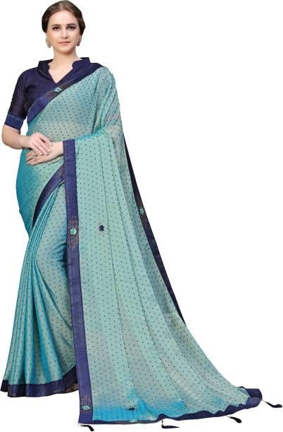 Sanku Fashion Solid, Embellished Bollywood Chiffon, Poly Silk Saree