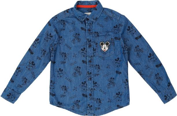Pantaloons Junior Boys Printed Casual Blue Shirt