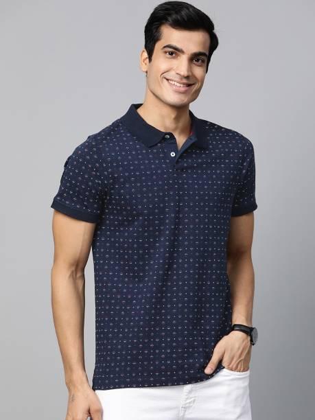 MAST & HARBOUR Printed Men Polo Neck Dark Blue T-Shirt