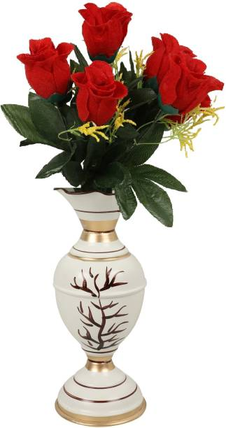 BS AMOR White, Red Rose Artificial Flower  with Pot