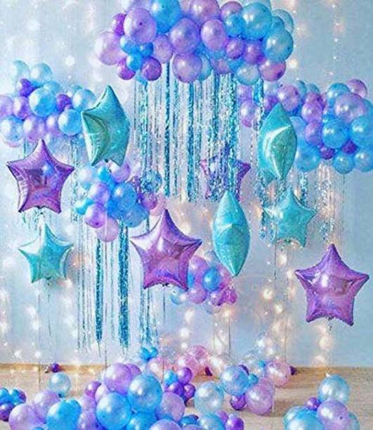 Party Hub 60 Blue Purple Pink Metallic Balloon With 3 Blue Star 3 Pink Star
