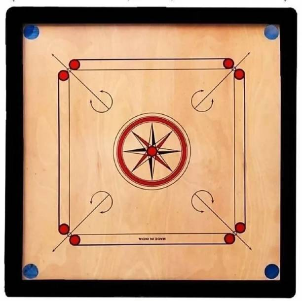 PAL SPORTS GLOSS FINISH 20 INCH SMALL CARROM WITH CRYSTAL COINS , STRIKER & POWDER 20 inch Carrom Board