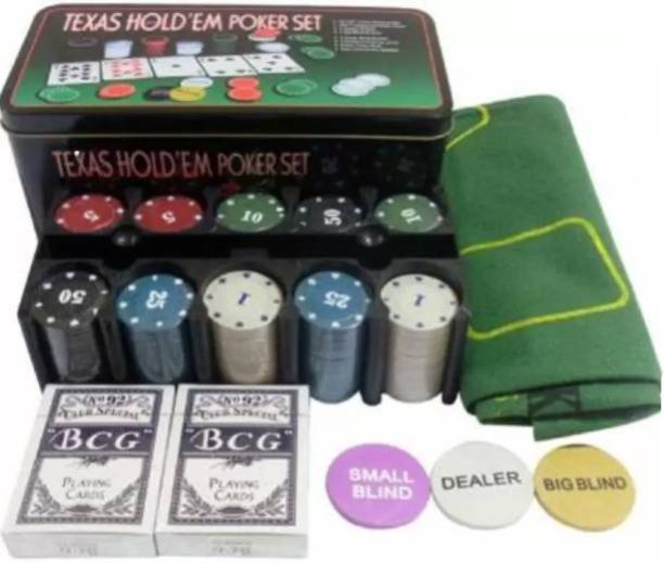 Badshah Gulla Hold'Em Poker Set Casino Game - 200 Poker Chip (Green) (Multicolor)