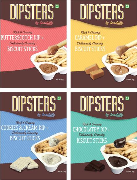 Snackible Dipsters Biscuit Sticks & Dip -Pack of 4 Flavours   Butterscotch, Caramel, Chocolatey, Cookies&Cream   (Pack of 12) - 12x30gm Cookies